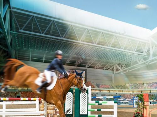 Visionsbild - hästhoppning i Stockholmsarenan