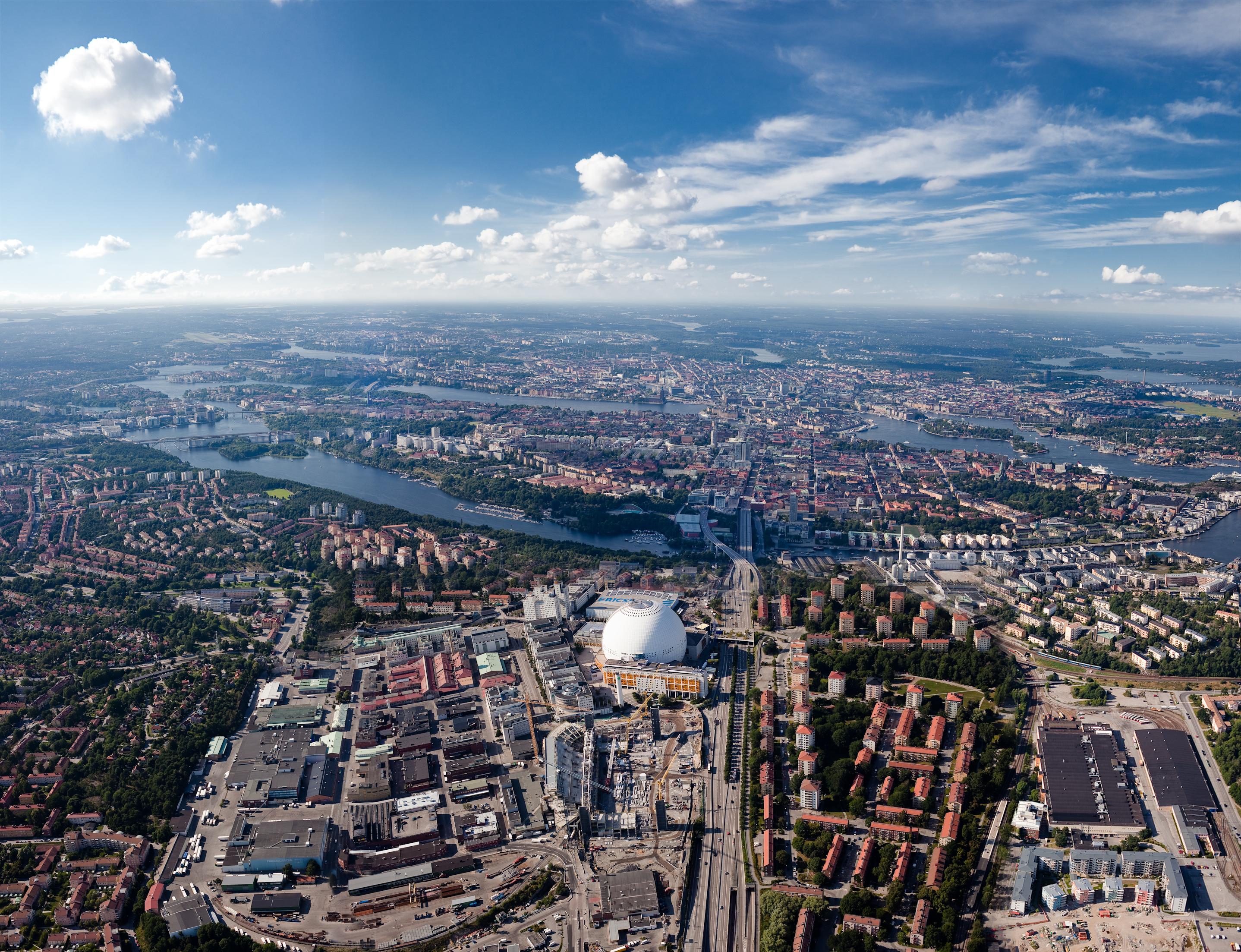 Flygbild_Globenområdet_Stockholmsarenan